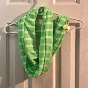 Neon Green Striped Infinity Scarf